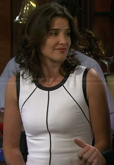 Robin's white dress with black leather piping detail on How I Met Your Mother.  Outfit Details: http://wornontv.net/20515/ #HIMYM