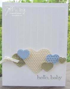 Stampin' Up! Clean and Simple  by Jill Franchett at Jill's Ink  Fashionable Hearts Baby Card