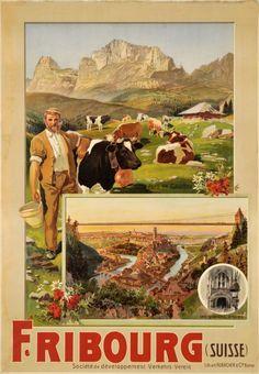 Vintage Travel Poster - Fribourg - Pays de Guyère - Switzerland - by Anton Reckziegel - Illustrations Vintage, Illustrations Posters, Retro Advertising, Vintage Advertisements, Evian Les Bains, Swiss Travel, Tourism Poster, Travel Ads, Retro Poster