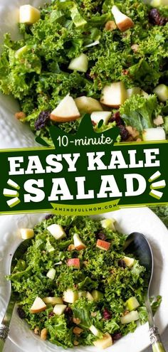 Find out the secret to this fall recipe! Tossed in a maple dressing with apples, walnut, and cranberries, this Easy Kale Salad is full of texture and flavor plus packed with nutrients. Serve at your… Salad Recipes Gluten Free, Best Salad Recipes, Salad Dressing Recipes, Fall Recipes, Healthy Recipes, Sandwich Recipes, Yummy Recipes, Clean Eating Salads, Homemade Lasagna