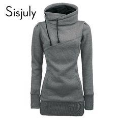 Sisjuly Fashion Solid Blue Women Hoodies Warm Autumn Winter Coat Long Sleeve Grey Women Hoodies Style Black Sweatshirt