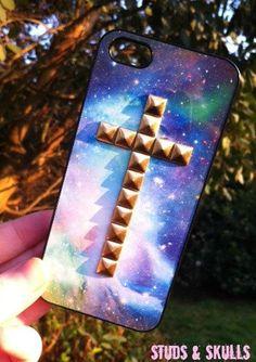 Blue Sky Space Galaxy Nebula Print Gold Cross Studded iPhone 4 4S Phone Case