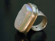 Bigchunky Drusy and Sterling Silver Ring by isajul on Etsy, $135.00