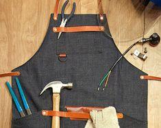 Cowhide Leather Pocket Apron Carving Workshop Carpenter Electrician Shop Wood