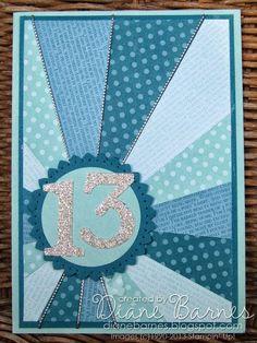sunburst starburst birthday card, Stampin Up, by Di Barnes, #stampinup, #colourmehappy