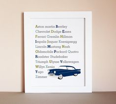 Use coupon code PIN10 for 10% off your purchase! Classic Car Alphabet Art Print Nursery by HopSkipJumpPaper, nursery art boy