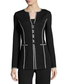 Striped-Trim Button-Front Jacket, Black/White by St. John at Neiman Marcus Last Call.