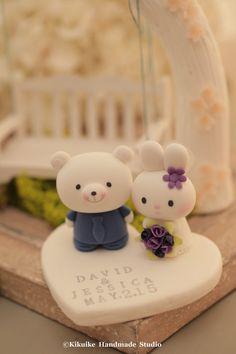 Handmade lovely rabbit and bear wedding cake topper by kikuike