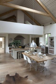bright parquet floor and sloping ceiling in the Scandinavian kitchen More - Decoration For Home Casa Loft, Loft House, Barn Kitchen, Barn Renovation, Barn House Plans, Metal Building Homes, Pole Barn Homes, Scandinavian Kitchen, Home Fashion