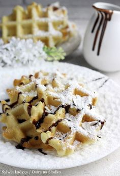 GOFRY KOKOSOWE ( bezglutenowe ) Gluten Free Recipes, Vegan Recipes, Pancakes And Waffles, Sweet Recipes, Food And Drink, Tasty, Sweets, Baking, Breakfast