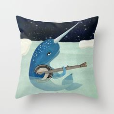Narwhal's Aquarelle Throw Pillow by Andrea Lauren | Society6