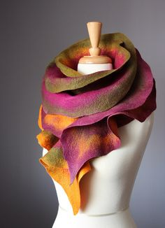 Felted fashion wool scarf Burgundu Green Orange | Flickr - Photo Sharing!
