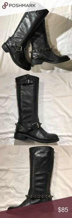 "Sam Edelman ""Ashlyn"" Moto boots Gently worn Sam Edelman studded knee high moto boots with 1"" heel and zippered back Sam Edelman Shoes Combat & Moto Boots"