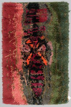 SATU PEURA Rya. Ca 147x95 cm. Mid Century Rug, Mid Century Design, Rya Rug, Shaggy Rug, Textiles, Rug Hooking, Floor Rugs, Wall Hangings, Textile Art