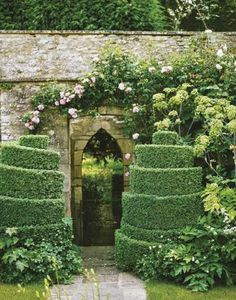 Topiary at Haseley Court, Oxfordshire .... the Home of Nancy Lancaster, American Interior Designer ....