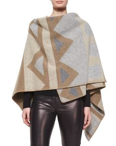 Angular+Patchwork+Poncho,+Black+by+Burberry+London+at+Bergdorf+Goodman.
