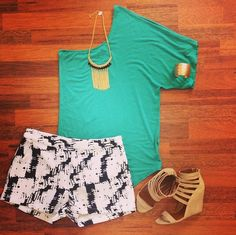 Make a statement in these Picture Perfect shorts (Last Pair)!!!! Fun for in the go or dress it up with statement jewelry & wedges! We LOVE this outfit! Southernswankboutique.com #instafashion #wiw #lastchance