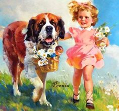 Girl with Saint Bernard
