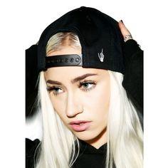 Semetary Snapback ($46) ❤ liked on Polyvore featuring accessories, hats, creep street hat, creep street, embroidery hats, snapback hats and embroidered hats