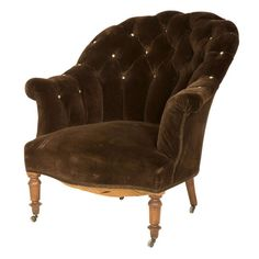 Antique Velvet Tufted Armchair | From a unique collection of antique and modern Chairs at https://www.1stdibs.com/furniture/seating/chairs/.