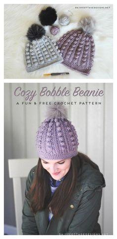 2c25567a9a97 Bobble Beanie Free Crochet Pattern  CrochetBeanie Háčkovanie Zadarmo