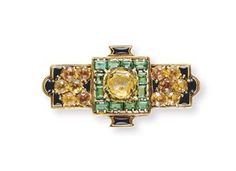 TIFFANY Louis Comfort, AN ART DECO BROOCH,Centering upon a cushion-cut yellow sapphire, within a rectangular-cut emerald surround, flanked on either side by a cluster of circular-cut citrines. Louis Comfort Tiffany, Tiffany Art, Tiffany Jewelry, Tiffany Lamps, Art Nouveau, Antique Jewelry, Vintage Jewelry, Gold Brooches, Art Deco Jewelry