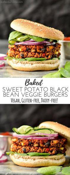 Baked Sweet Potato Black Bean Veggie Burgers are vegan, gluten-free and freezer-friendly!