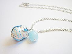 Owl Necklace Owl Pendant Owl Jewelry Turquoise by RobertaValle, $18.00