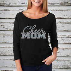 Cheer Mom Off Shoulder 3/4 Sleeve Raw Edge Terry Shirt