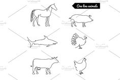 One line animals set, logos vector stock illustration with horse, pig, turkey, cow, chicken, shark,and other by ArtBalitskiy on @Graphicsauthor