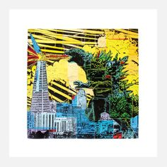 Don't like now, but the big lizard just hit the shores of San Francisco and is taking its sushi restaurants and vegan bakeries by storm! Actually, it's just the Godzilla Print from artist Eric Rewitzer. Eric's iconic, larger-than-life linocut is beautifully rendered in vivid color.