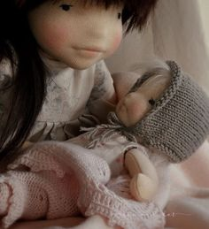 Knitted baby doll clothes by Mum and dot