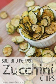 Oh MY Goodness. These zucchini chips are SO good. Full of flavor, and just a little spicy because of the pepper. Amazingly easy to make, too! Would be perfect with a homemade garlic dip. You can make these with a dehydrator or in the oven