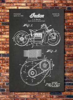 Indian Motorcycle Shaft Drive Patent Print by CatkumaPatentPress