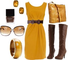 """Gold and Brown Dress"" by lagu on Polyvore"