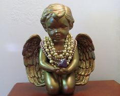 Angel holding heart, painted cherub, cherub and pearls, large angel, large cherub, patina looking angel, kneeling angel, angel with pearls, by ChippedPaints on Etsy Date, Heart Painting, My Favorite Color, Colours, Etsy, Sculpture, Pearls, Vintage, Angels