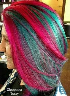 Pink and green hair color Hair Color Pink, Cool Hair Color, Pink Hair, Ombre Color, Hair Colors, Pelo Multicolor, Corte Y Color, Bright Hair, Colorful Hair