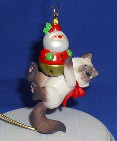 Hallmark Ornament Mischievous Kittens 15 2013 Siamese Cat with Santa Toy | eBay