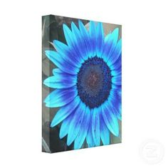 Cool Canvas Painting Ideas | Shades of Blue Sunflower Wrapped canvas Print by minx267