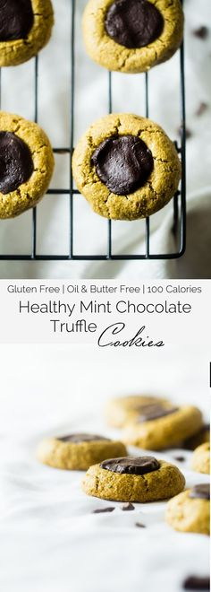 Chocolate Mint Truffle Cookies - These gluten free chocolate mint avocado cookies have a rich truffle center, are so soft and chewy and are only 100 calories! They're a healthy cookie for the holidays that are easy to make! | Foodfaithfitness.com | @FoodFaithFit @Rubbermaid #AD