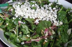Spinach salad, pepitas, pickled red onions, dried cranberries, goat cheese, citrus dressing