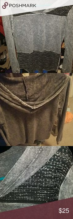 Hooded grayish top This was worn once, and is super light weight and almost looks like the dye.  It has beaded detail at the top. Maurices Tops Tees - Long Sleeve