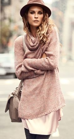 sweater over dress!! great idea for fall and for winter you can easily keep you're spring and summer wardrobe incorporate by adding a pair of tights