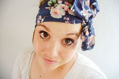 Floral head wrap tie on - navy blue pink white green - wide head wrap bow