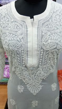 Embroidery Motifs, Hand Embroidery Designs, Long Kurti With Jeans, Casual Outfits, Fashion Outfits, Womens Fashion, Chikankari Suits, Sharara Suit, Kurtis Tops