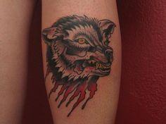 Traditional Wolf Tattoo Design For Leg Calf