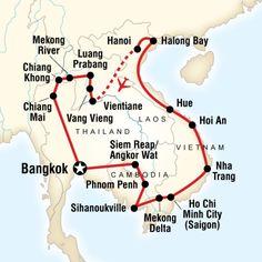 Hoogtepunten: - de tempelstad Angkor Wat in Cambodja - sightseeing in Phnom Penh, de hoofdstad van Cambodja - indrukwekkende geschiedenis van Cambodja - de Killing Fields - relaxen in Sihanoukville in Cambodja - stadstours in Ho Chi Minh Stad (vroeger Saigon) in Vietnam - de oostkust van Vietnam verkennen met Hoi An als tussenstop - oorlogsmonumenten van de Vietnam-oorlog - maak een zeilcruise bij Halong Bay in Vietnam - zeilen over de Mekong rivier