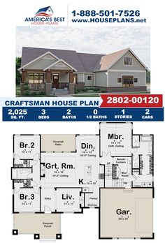 Featuring 2,025 sq. ft., 3 bedrooms, 2 bathrooms, a covered patio, a vaulted great room, a mud room and a formal living room. Visit our website, for more details about this Plan 963-00626. Craftsman Style Homes, Craftsman House Plans, Floor Plan Drawing, Cost To Build, Construction Drawings, Best House Plans, Formal Living Rooms, Architectural Elements, Square Feet