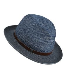 Blue Open Weave Fedora Hat with Belt, Grevi. Shop more hats from the Grevi collection online at Liberty.co.uk