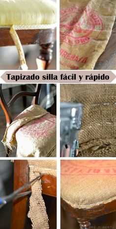 Modo rápido y fácil de tapizar una silla Building Furniture, Furniture Projects, Furniture Decor, Painted Furniture, Chair Makeover, Furniture Makeover, Home Garden Design, Recycled Furniture, Furniture Upholstery